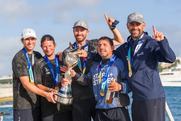 2020 Match Racing World Champions Team Stars+Stripes Team USA (from left) Mike Menninger, Eric Shampain, skipper Taylor Canfield, Victor Diaz de Leon, Mike Buckley (Photo: Ian Roman)