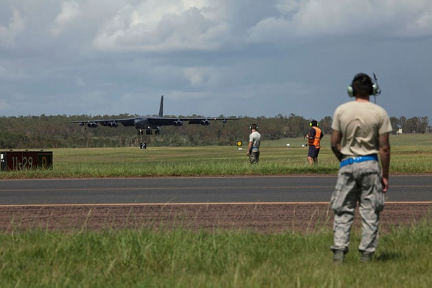 U.S. Air Force B-52 Stratofortress Bombers arrive at RAAF Base Darwin to train with the Royal Australian Air Force as part of Enhanced Air Cooperation (EAC). Credit: Defence