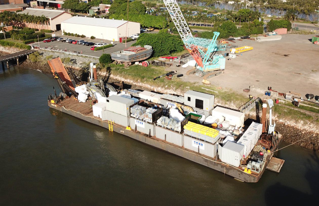 The Hall Contracting barge ready to leave Australia for Tokelau