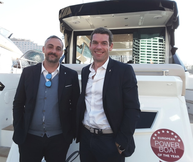 Beneteau joint general manager, Gianguido Girotti (left) and Vianney Guézénec, Asia Pacific director for Beneteau-Lagoon, onboard the Gran Turismo 50 which made its debut at SIBS 2018.