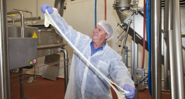 Beston Global Foods Master Cheesemaker Paul Connolly stretches the Edwards Crossing Mozzarella.