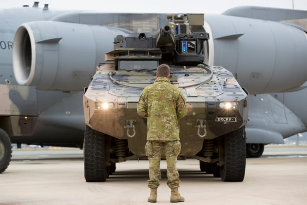 The Rheinmetall Boxer CRV at Defence Establishment Fairbairn during for air transportability trials in 2017.
