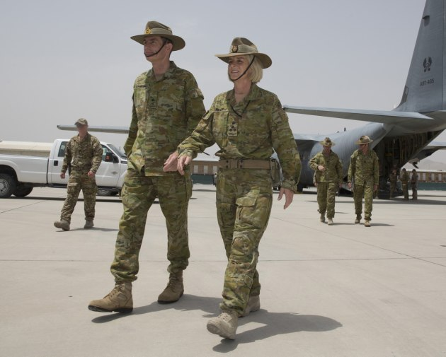 CDF General Angus Campbell walks with Brigadier Cheryl Pearce in Kabul during her time as Commander Task Group Afghanistan.