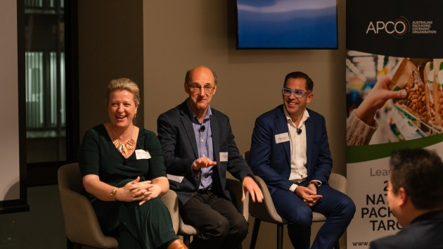Terrific trio: Brooke Donnelly, Paul Klymenko, Anthony Peyton gave a detailed account of the global feedback on Australian packaging sustainability progress.