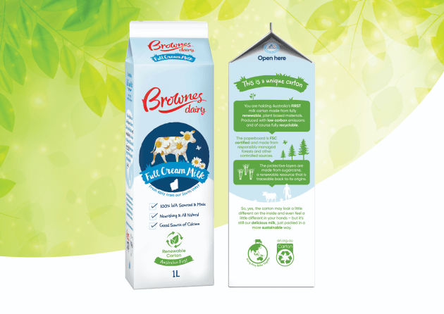 PIDA 2020 Beverage Category and Sustainable Packaging Design Finalist: Brownes Dairy for Australia's first renewable gable top milk carton.