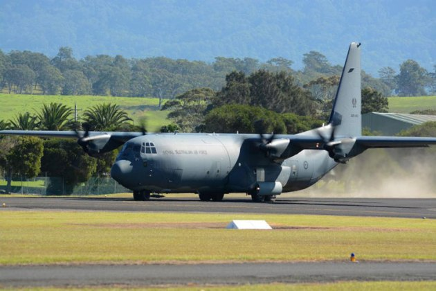 A C130J powers up for a maximum effort take-off. (Steve Hitchen)