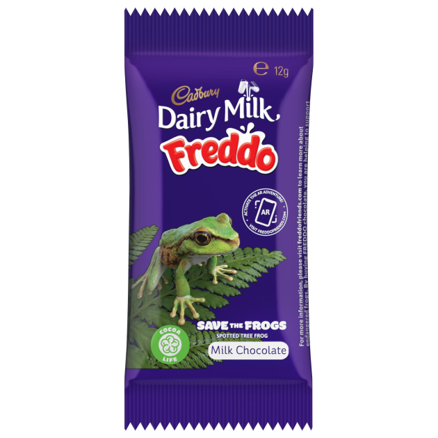 The Spotted Tree Frog hops onto Cadbury Freddo packs.