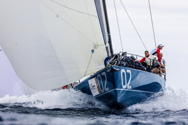 Azzurra charge ahead in the title fight. Photo Martinez Studio/TP52 Super Series.