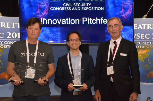 John O'Callaghan, Dylan Kendall,  and Linus Chang, CIVSEC 2018's Pitchfest winners. Credit: ADM/David Jones