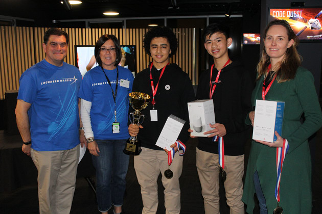 Vince Di Pietro and Leslie Pontillas of Lockheed Martin with winners Michael Malik and Joseph Tey and coach Dr Kyi Muller of Melbourne's Haileybury school. 
