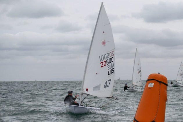 Toby Coote leads the Laser 4.7 Class at the Australian Laser Championships at Sandringham. Photo Jon West Photography.