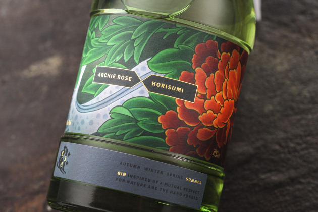 Archie Rose limited edition Summer Gin, artwork by Horisumi, graphic design by Squad Ink, label printed by MCC on an HP Indigo 6600 Digital Press.