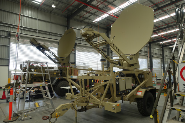 The Medium SATCOM Terminal (at rear) in development for Project Currawong. 