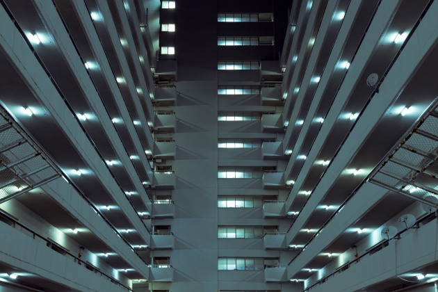 Kawaramachi Danchi. The vast interior courtyard space inside a danchi. © Cody Ellingham.