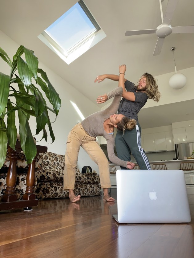 ADT dancers Darci O'Rourke and Chris Mills rehearsing at home.