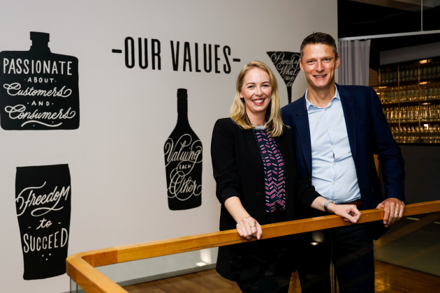 WGEA director Libby Lyons with Diageo Australia MD David Smith at its paid parental leave announcement in May