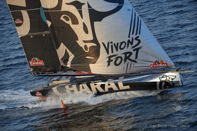 With the latest foiling technology, Jérémie Beyou's Charal (FRA) will be one of 29 IMOCA 60s competing in this year's Rolex Fastnet Race © Yvan Zedda /Alea/ Charal.