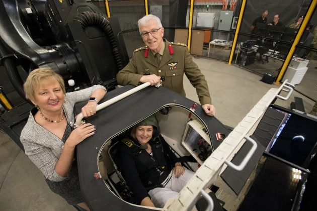 UMS Director Kerrie Parker, Member for Corangamite Sarah Henderson (seated), and ADF Director General of Combined Arms Fighting Systems Brigadier Greg McGlone.