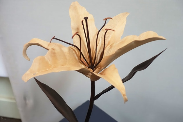 Dean Matthysen, Blooming Lily, paper bark. A lily in bloom carved from paper bark and ebonised timber flooring offcuts.