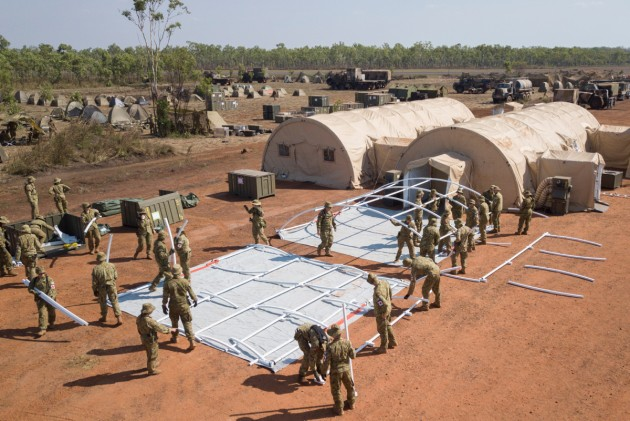 A Field Hospital under assembly at Batchelor Airfield in the NT during Exercise Pitch Black 2018.