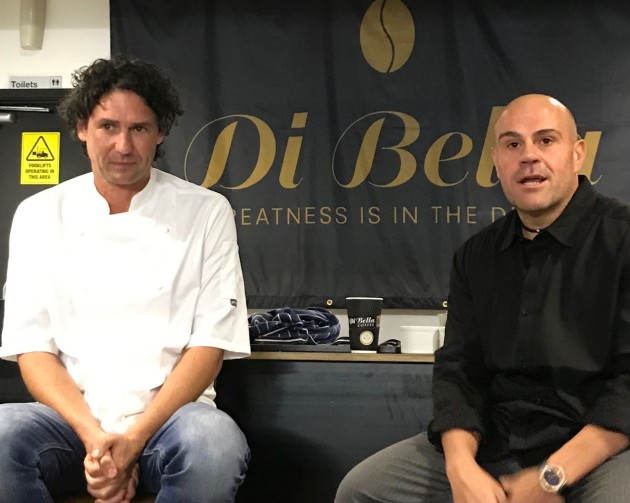 Di Bella founder and chairman Phil Di Bella (right) launches 82 Range beside chef and brand ambassador Colin Fassnidge.