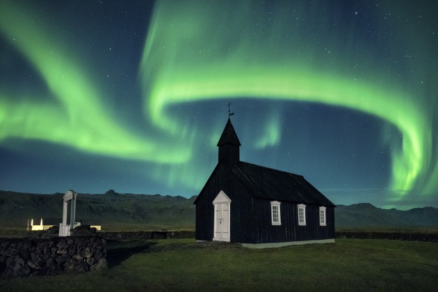 Búðir, Iceland. Taken only a few weeks ago on our Dream Photography Workshop, guests were greeted to this amazing display of light. We tried to frame the aurora as it wrapped around the church. It helped compliment the scene. Nikon D810, 14-24mm f2.8 lens. 6s @ f5.6, ISO 4000.