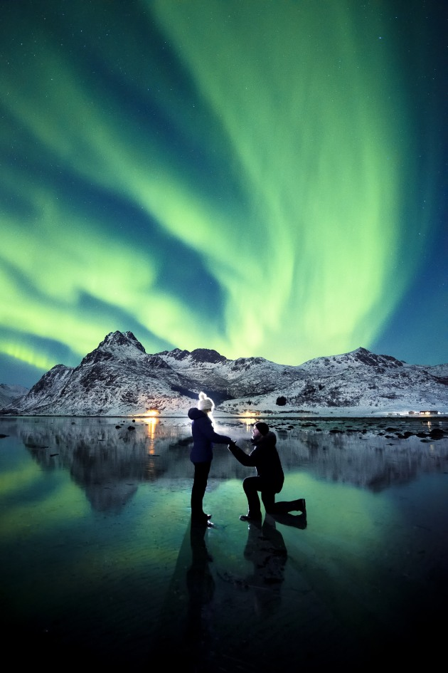 """That photo"". This image of our engagement went viral, and was seen by more than 40 million people worldwide. Backlit with a head torch, I'd tricked Karlie into getting a selfie. Little did she know I was about to propose under this incredible display of northern lights. Nikon D810, 14-24mm f/2.8 lens. 2.5s @ f2.8, ISO4000."