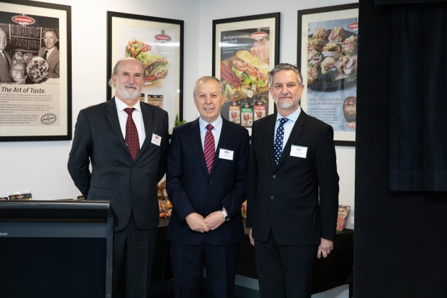 D'Orsogna Board Members Massimo Valentini, Tony Iannello (Chair) and Marco D'Orsogna at D'Orsogna's $66 million food manufacturing facility at Merrifield Business Park, Melbourne.