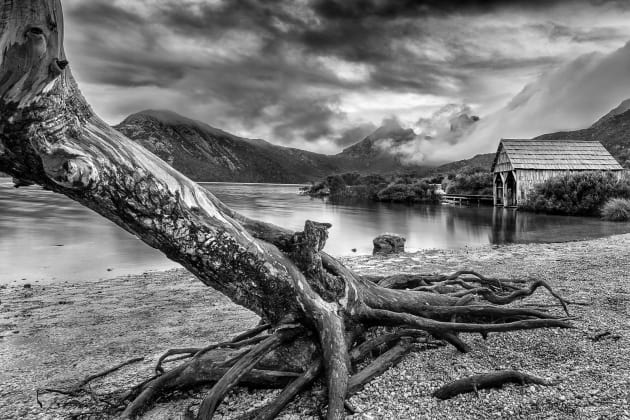 The famous boat shed at Dove Lake.