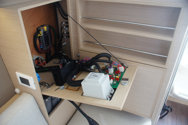 The neat electrical panel dropped down for easy access.