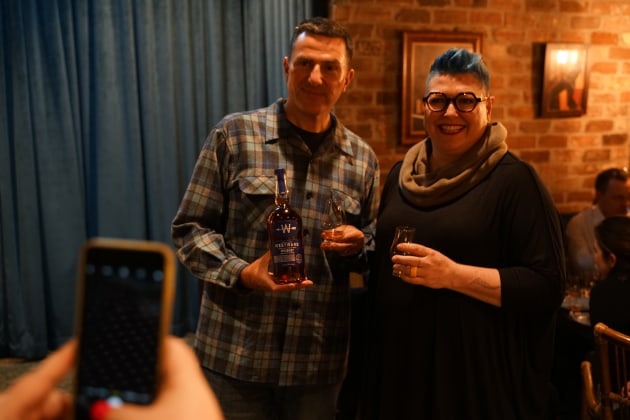 Thomas Mooney, Founder & CEO, Westward Whiskey and Kim Berry, editor of Food & Drink Business in Sydney to launch Westward's limited edition Westward Oregon Pinot Noir Cask Finish.