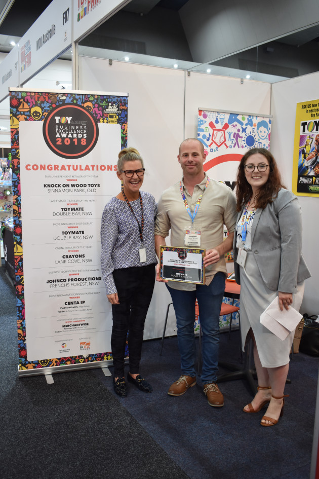 (L to R): Gabby Anderson, Daniel Bloom and Imogen Bailey. Toymate - Winner of Large Retailer of the Year and Most Innovative Shop Display.