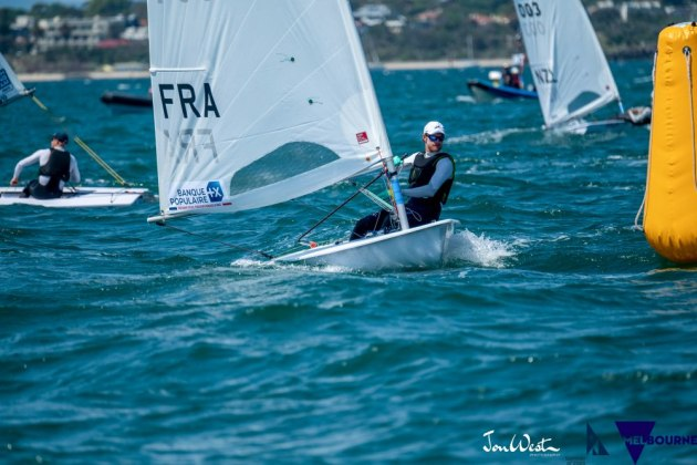 Jean-Baptiste Bernaz (FRA) leads the fleet during qualifying. Photo Jon West Photography.