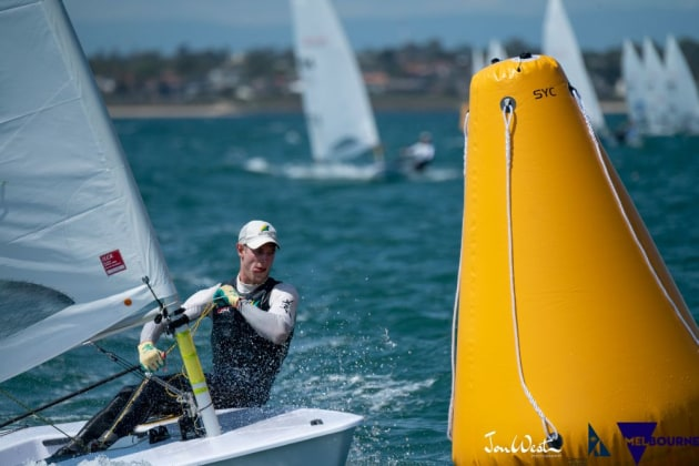Australian Matt Wearn has kept himself in contention at the Laser Worlds and is poised to strike in Gold Fleet.Photo Jon West Photography.