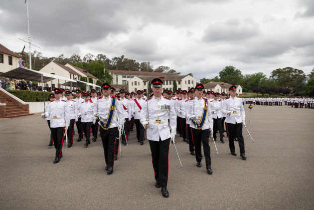 The December 2018 graduating class of the Royal Military College Duntroon march off the parade ground.