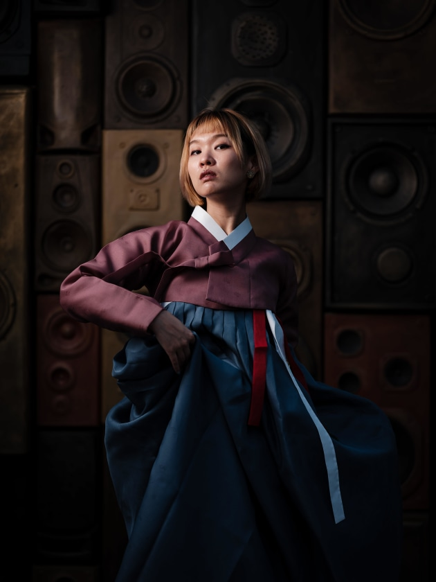 Fujifilm GFX 50S, 110mm f/2, 1/500, f/2, ISO 100, Godox AD200 in 1.5m umbrella to camera left. Hanbok, Korea's traditional dress.