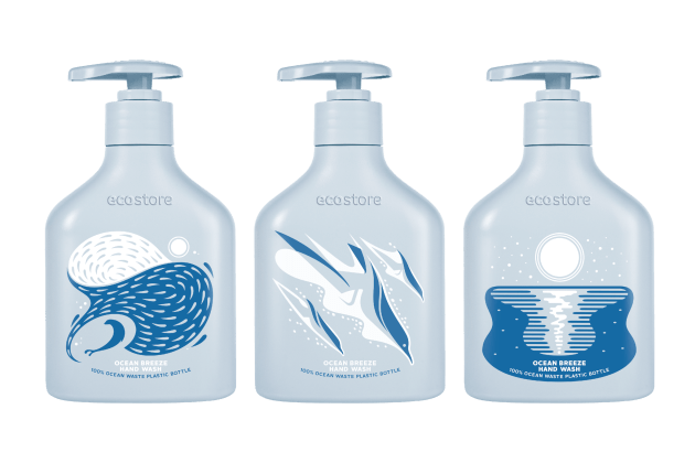 PIDA 2020 Sustainable Packaging Design Special Award finalist: ecostore Ltd for New Zealand's first 100% Ocean Waste Plastic (OWP) limited edition hand wash container.