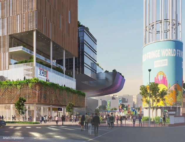 Artist's impression of the proposed city campus on Yagan Square.