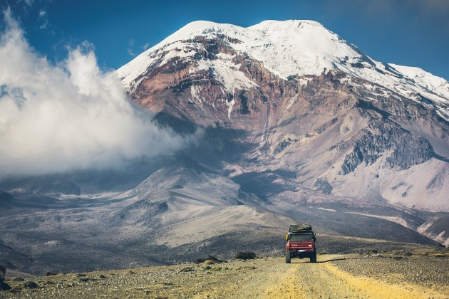 Driving on the 'Volcanoes Avenue' towards one of the world´s highest active volcanoes - Cotopaxi (5,897m)