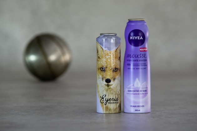 Ball UK and Nivea's winning cans in the AEROBAL World Aluminium Aerosol Can Awards.