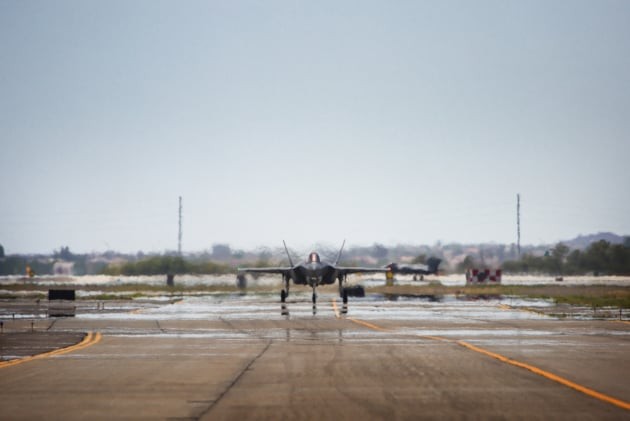 An Australian F-35A taxiing to the runway prior to a training mission at Luke Air Force Base, Arizona, USA. Defence