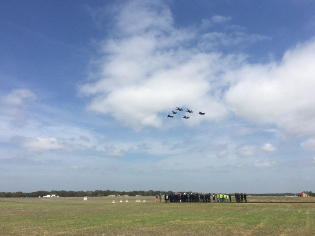 Australia's first F-35As fly over RAAF Williamtown alongside F/A-18 Hornets. Credit: Ewen Levick