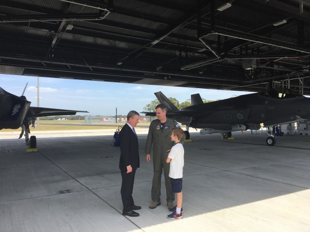 Minister for Defence Christopher Pyne speaks with serving and aspiring F-35 pilots. Credit: Ewen Levick