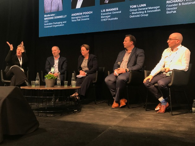 Australian Packaging and Covenant Organisation CEO Brooke Donnelly (far left) chaired a panel of industry leaders at the inaugural Global Table conference in Melbourne this week. Left to right: Tetra Pak Oceania MD Andrew Pooch; CHEP Australia executive GM Liz Mannes; Detmold Group GM of Marketing & Innovation, Tom Lunn; and BioPak founder and sustainability director Richard Fine spoke frankly about the challenges and opportunities of building the circular economy in Australia.