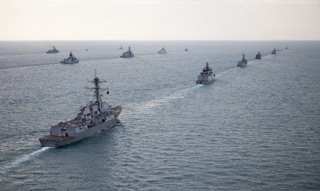 The USS Michael Murphy in formation with other multinational ships during Exercise Kakadu. 