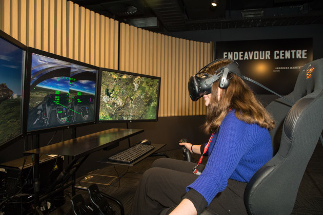 Students got the chance to try their hand at two different flight simulators at the Lockheed Martin head office in Canberra this week.