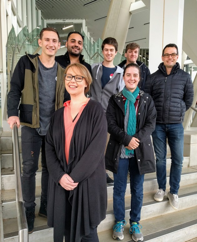 Flinders University College of Science and Engineering student interns heading for France (back row, left to right) Dalton Rieck Master of Engineering (Civil), Arslan Ahmad Bachelor of Engineering (Civil) (Honours), Jayden Grigg Bachelor of Engineering (Electronics) (Hons), Matthew Evans Bachelor of Information Technology (Digital Media) / Bachelor of Software Engineering (Hons), Chris Przibilla, Bachelor of Engineering (Civil) (Hons) and (front) Larissa Pearce, Work Integrated Learning Coordinator, College of Science and Engineering and Caitlin Kramer Bachelor of Engineering (Robotics) (Hons). 