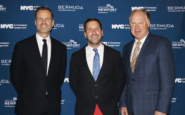 Fred Dixon, President & CEO, NYC & Company; Kevin Dallas, CEO, Bermuda Tourism Authority; and Evan Smith, President & CEO, Discover Newport announced a joint destination marketing collaboration during a reception at the New York Yacht Club on February 7.