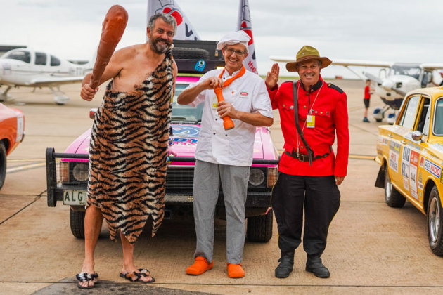 Aeroplanes, cars and characters combined at Essendon on Saturday to launch the Variety FunFlight Safari 2020. (Jack Clemens)