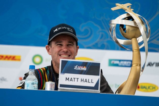 It's not going anywhere! Matt Hall fronts a Chiba press conference with the World Championship trophy within easy reach. (Jason Halayko / Red Bull Content Pool)